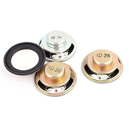 Aexit 4 Pcs 45mm Dia 4Ohm 3W Metal External Magnetic Speaker Loudspeaker by Aexit