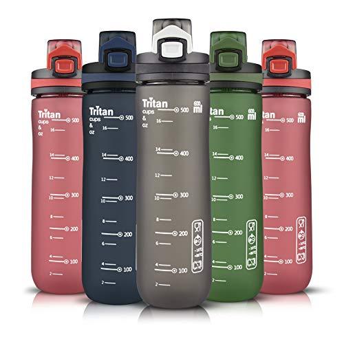 Opard Sports Water Bottle, 20oz BPA Free Tritan Plastic Water Bottle with Leak Proof Locking Lid Carrying Loop for Outdoor Gym Yoga Travel Hiking (Deep Grey, 20oz/600ml)