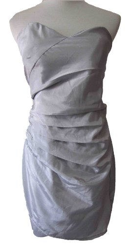 Jewels Strapless Taffeta Sheath Elegant bridesmaid prom party cocktial evening Gown dress , Size XS -S, Grey
