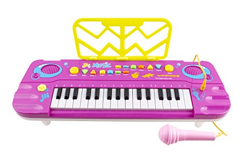 Piano for Kids, 34 Key Synthesizer Multi-function Electronic Keyboard Play Piano Organ W/ Microphone Children Educational Toy (Purple)