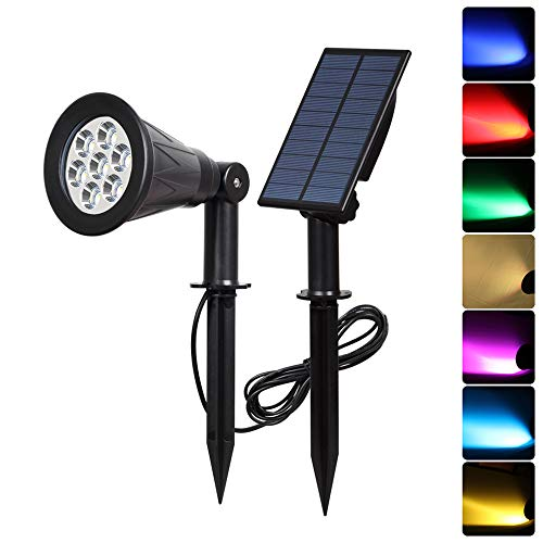 T-SUN [1 Pack] LED Solar Spotlights, Waterproof Outdoor Security Landscape Lamps, Auto-on/Auto-Off by Day, 180 Angle Adjustable for Tree, Patio, Yard, Garden, Driveway, Stairs, Pool Area(Colorful)