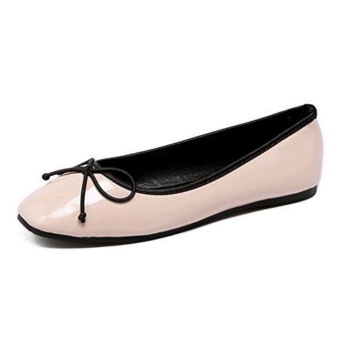 Aalardom Kvinna Patent Läder Fyrkantiga Slutna Tå Pådrag Flats-skor Med Bågar Och Knut Nude