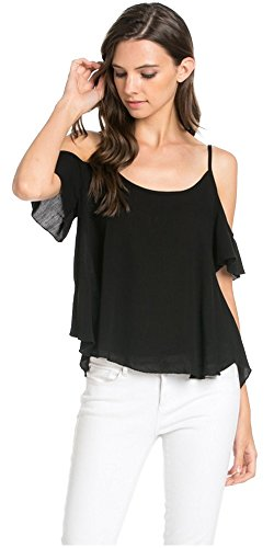 Tabeez Women's Open Cold Shoulder Cropped High Low Short Sleeve Tunic Top (Medium, Black)