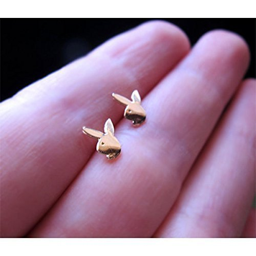 Gold Bunny Stud Earrings, Playboy Rabbit Studs - Fashion Jewelry