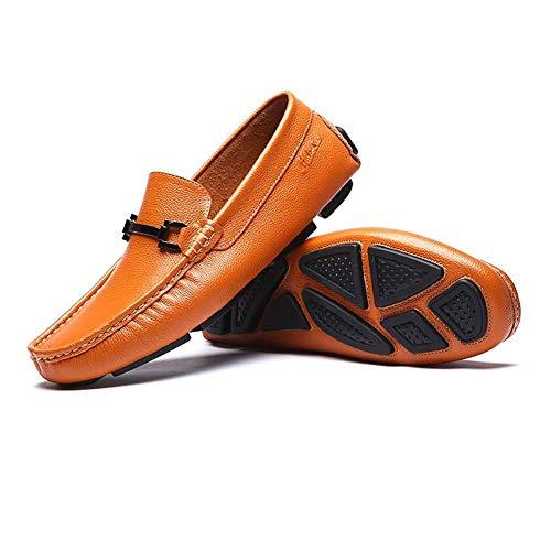 Hombres Lisos y para 7 US cómodos HhGold Punta Hombres Talla Plana tamaño 7 Holgazanes 6 Slip 5 5 on Color Azul Azul para Zapatos de de US UK UK Azul 6 Color Casuales Cuero YOB70Y