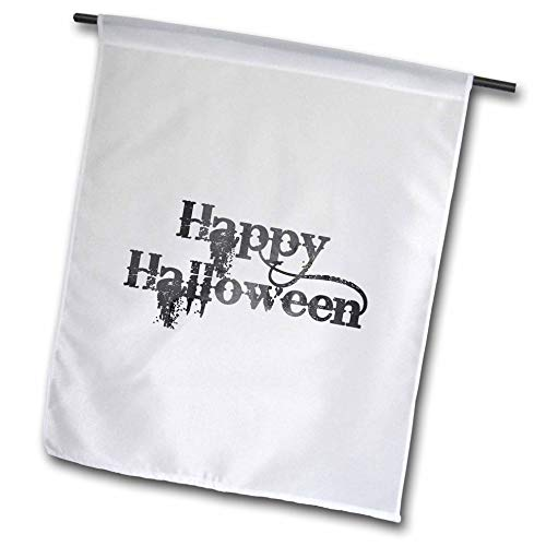 3dRose InspirationzStore - Occasions - Happy Halloween Grunge Grungy Scary Writing Font Dark Grey Text - 12 x 18 inch Garden Flag (fl_318144_1) ()