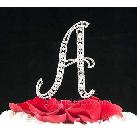 Swarovski Crystal Monogram Cake Topper Vintage Style – Letter A - Swarovski Crystal Wedding Cake