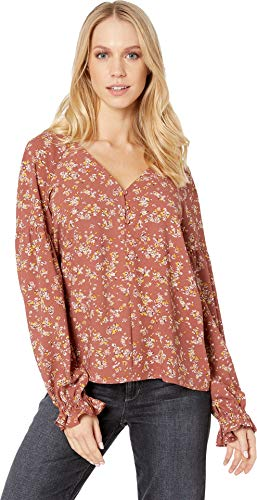 - 1.State Women's Long Sleeve Three-Button Heritage Bouquet Blouse Terra Earth Large