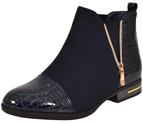 Faux Shoes Fr77 Suede black Ladies True Chelsea Face Ankle Cowboy Boots 1q8fZwO