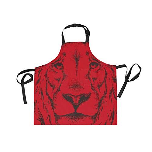 Delantal mujer de Red Delantales hombre Alaza o Unisex para cocina sarga multidireccional cocina de con Bib bolsillos ajustable Lion Cuello Adultos IxSwOqw0