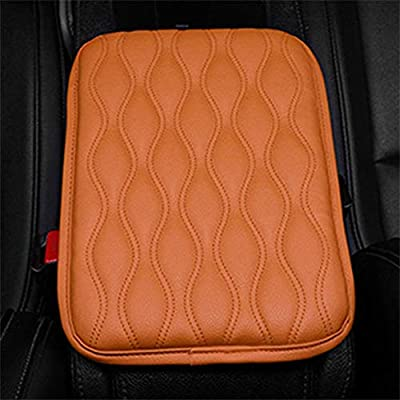 Forala Auto Center Console Pad,PU Leather Car Armrest Seat Box Cover Protector Protects from Dirt,Damage,Pet Scratches,Old Damaged Consoles (Orange): Automotive