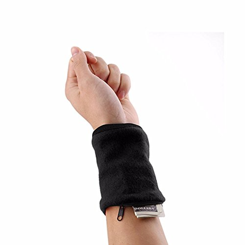 Furnido 1 Pair Fleece Zipper Wristband Sweat Band Sports Wrist Wallet Key Money Card Coin Pocket Storage Bag For Running Cycling And Other Sports (black)
