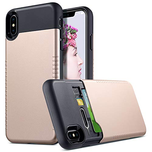 Protective Cover Anti Slip (ULAK Slim Stealth Wallet Case for iPhone Xs Max 6.5 inch (2018) Hidden Credit/ID Card Holder with Extra SIM Card Slots Full Protection Anti-Slip Hybrid TPU Bumper Protective Cover (Gold + Black))