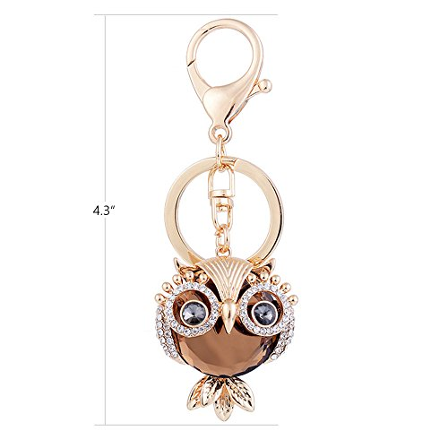 ygmoner Crystal Keychain Car Keyring & Bag Accessory Free with Gift Box (Owl(Champagne))