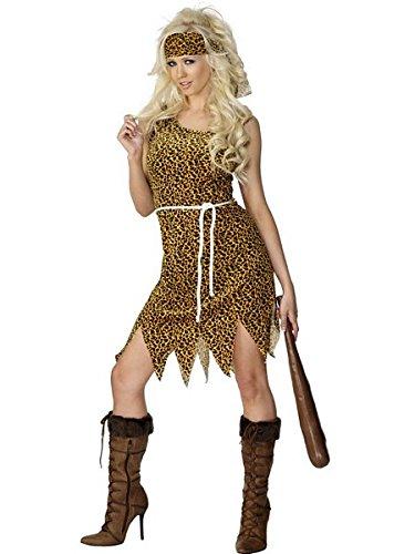 Smiffys Women's Cavewoman Costume, Dress, Headband and Belt, Caveman, Serious Fun, Size 10-12, 22452 -
