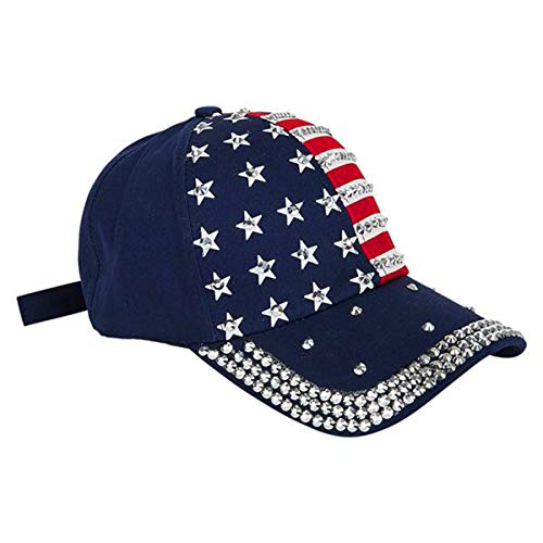 Patriotic Baseball Cap with Rhinestones for Women and Men | American Flag Hat with Bling | Show Patriotism, Perfect for 4th of July, Memorial, Veterans, Labor Day or Any Day | Adjustable Size, Blue ()