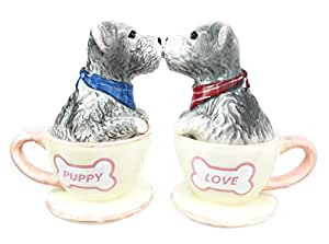 Puppy Love Adorable Teacup Schnauzer Dog Couple Salt Pepper Shaker Set Ceramic Home and Kitchen Accessory