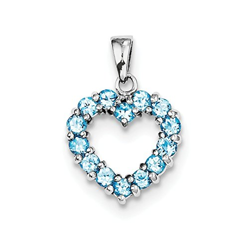 925 Sterling Silver Swiss Blue Topaz Heart Pendant Charm Necklace Gemstone Love Fine Jewelry For Women Gift ()