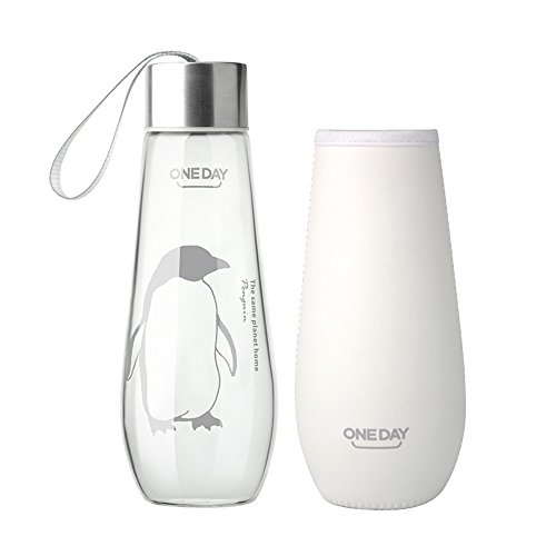 L Borosilicate Glass Water Bottle with Nylon Sleeve, Portable and Stylish and Handmade ,370G,Penguin (Penguin Water)