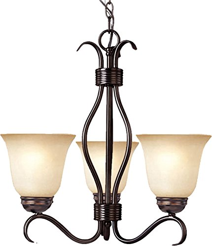 (Maxim 10123WSOI Basix 3-Light Chandelier Single-Tier Chandelier, Oil Rubbed Bronze Finish, Wilshire Glass, MB Incandescent Incandescent Bulb , 60W Max., Dry Safety Rating, Standard Dimmable, Metal Shade Material, Rated Lumens)