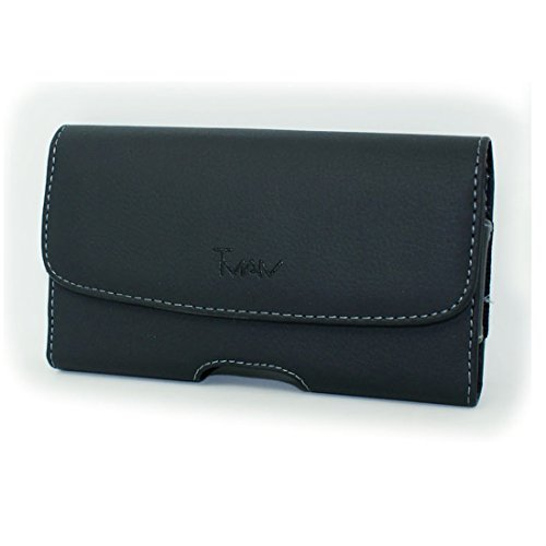 Black Horizontal Stylish Leather Cover Belt Clip Side Holster Case Pouch For Samsung MyShot 2 II SCH-R460 (R460 Cases Protective)