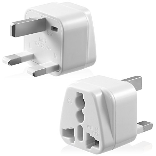 Type G Adapter, Fosmon [CE Certified] USA to UK Hongkong International Power Adapter Gounded Wall Converter for Travel Use - White (1 PCS) (List Of Islands In The British Isles)