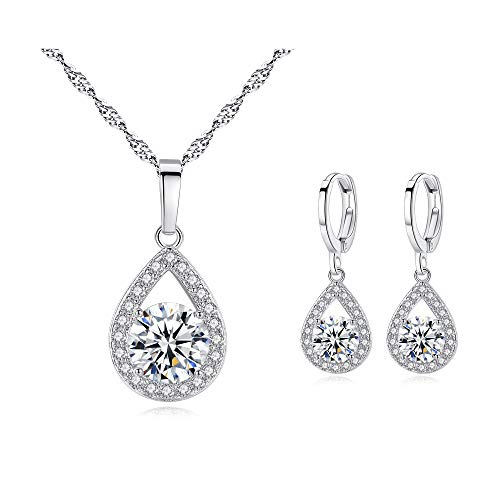 - BAFOME Women Bridesmaid Austrian Crystal Necklace Teardrop Earrings Jewelry Set Gifts fit with Party Wedding Dress