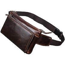 Men Oil Wax Leather Messenger Shoulder Sling Chest Fanny Pack Waist Bag Coffee