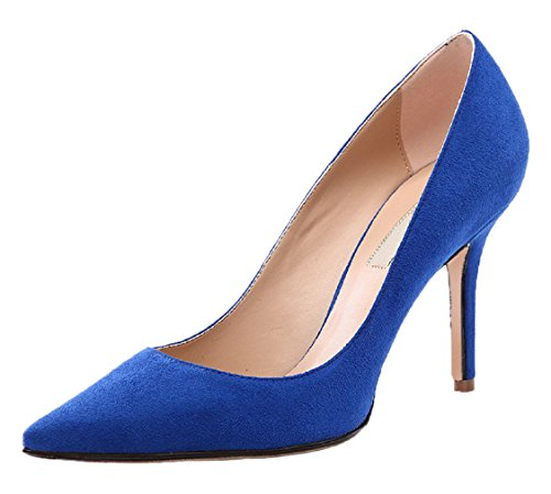Damen Pointed Pumps HooH Blau Toe Flanell Stiletto 012 vdpqCp