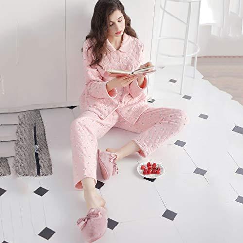 A Dos Impresión Pink Larga De Laminado En Servicio Casa Domicilio Puede Pijamas Manga Solapa Se Usar Algodón Afuera Conjunto Piezas OH85qP8g