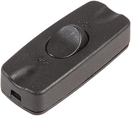 negro Interruptor basculante en l/ínea de 2 amperios y 2 n/úcleos para peque/ños electrodom/ésticos l/ámparas de pie y mesa Rhinocables