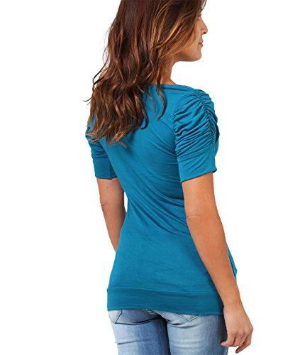 KRISP Camiseta Mujer Manga Corta Hombros Fruncidos Elástico Verde Azulado