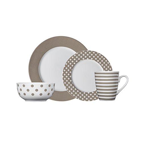 Pfaltzgraff Kenna Taupe 16-Piece Dinnerware Set, Service for 4