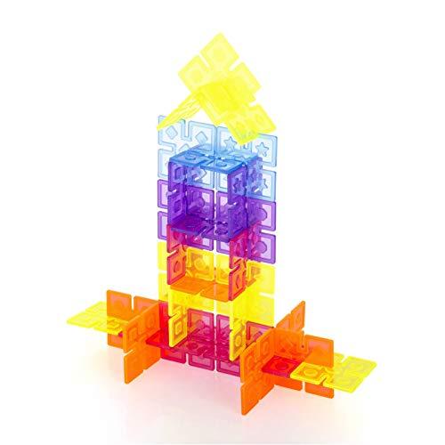 Guidecraft Interlox Squares - 96 Piece Set Interlocking Construction Toy, Creative Building - Educational STEM Construction Toy for Kids