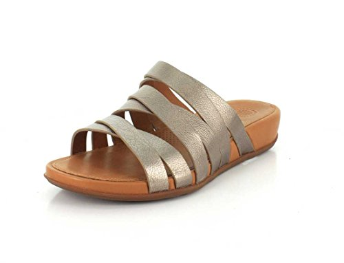 FitFlop Lumy Leather Slide Sandals Bronze UK8 Bronze