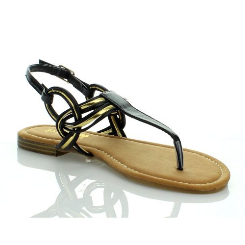 ANNA LYNK-29 Women Gladiator T Strap Sling Back Flat Metallic Trim Thong Sandal, Color:BLACK, Size:6