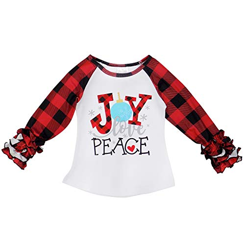 So Sydney New Toddler & Girl Fall & Winter Holiday Sparkle Ruffle Raglan T-Shirt (M (4T), Plaid Joy Love - Peace Baseball Jersey Kids