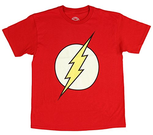 T-shirt Youth Superhero - DC Comics Flash Boy's Glow in The Dark Tee, Red , Large