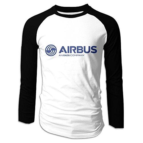 Creamfly Mens Airbus Logo Long Sleeve Raglan Baseball Tshirt XL