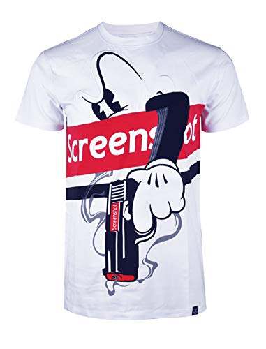 SCREENSHOTBRAND-S11908 Mens Hip-Hop Ultra Premium Tee Longline Street Designer Cartoon Print T-Shirt-White-Medium