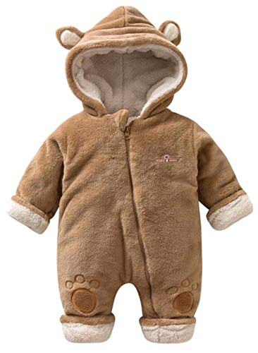EGELEXY Baby Boys Girls Winter Fleece Lined Hooded Outfit Onesie Cute Bear Style Romper Size 3-6 Months/Tag66 (Brown)