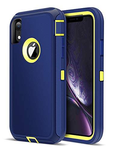 iMangoo Defender iPhone XR Case, iPhone 10R Case Outdoor Sports Heavy Duty Shockproof Full Body Protection Cover iPhone 10 R Case Non-Slip Matte Phone Case for Apple iPhone XR 2018 6.1 Navy Blue