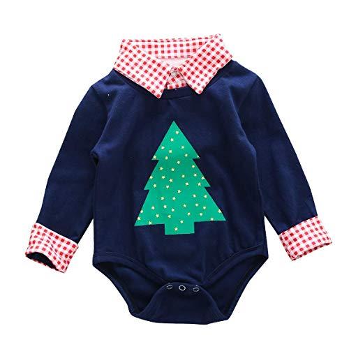 MAMOWEAR Baby Boy Christmas Tree Clothes Plaid Stand Collar Long Sleeve Romper Gentleman Jumpsuit (Navy Blue, 0-6 ()