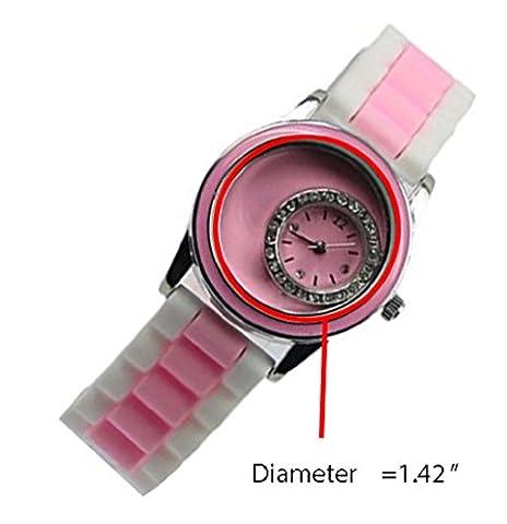 Bella Jewelry Stylish Diamante Silicone Band Floating Charm Watch Quartz diy Rhinestone Wristwatche (Adrenaline Quartz Watch)