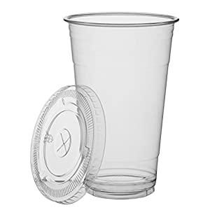 Cold Smoothie Go Cups and Lids | Iced Coffee Cups | Plastic Cups with Lids | 24 oz Cups, 50 Pack | Clear Disposable Pet Cups | Ideal for Bubble Tea Juice Soda Cocktail Party Cups [Drinket Collection]