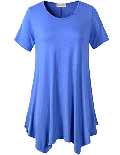 LARACE Womens Swing Tunic Tops Loose Fit Comfy Flattering T Shirt (L, Blue) ()