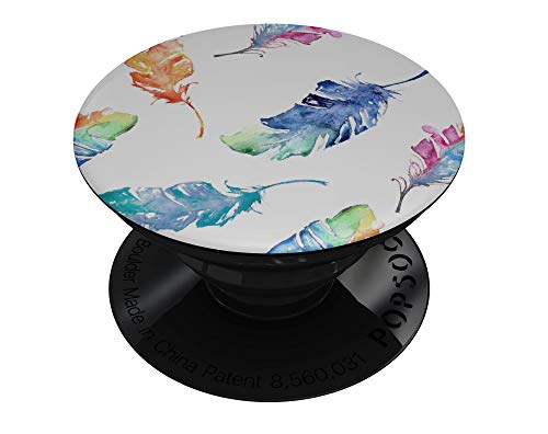 Colorful Watercolor Feathers - DesignSkinz Premium Decal Sticker Skin-Kit for PopSockets Smartphone Extendable Grip & Stand