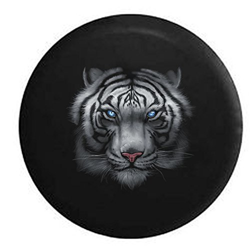 Majestic White Tiger Vibrant Eyes Spare Tire Cover Black 32 in