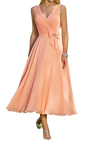 Charmant Damen Elegant Orange Chiffon Abendkleider Brautmutterkleider Partykleider Knielang Tanzenkleider