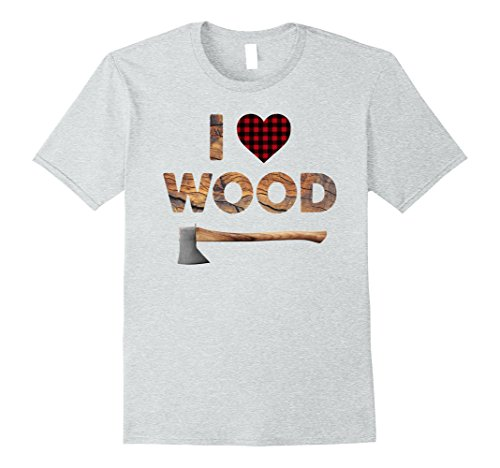 Halloween Lumberjack Costumes (Mens I Love Wood T-Shirt Lumberjack Heart Halloween Costume Tee Large Heather Grey)